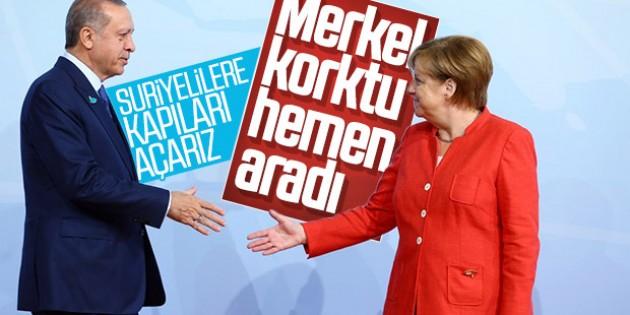 Cumhurbaşkanı Erdoğan, Merkel ile telefonda görüştü