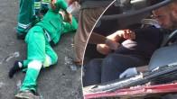 Temizlik işçileri çöp kamyonundan yere düştü.