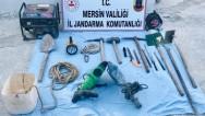 Mersin'de kaçak kazı! İki kişi suçüstü yakalandı.