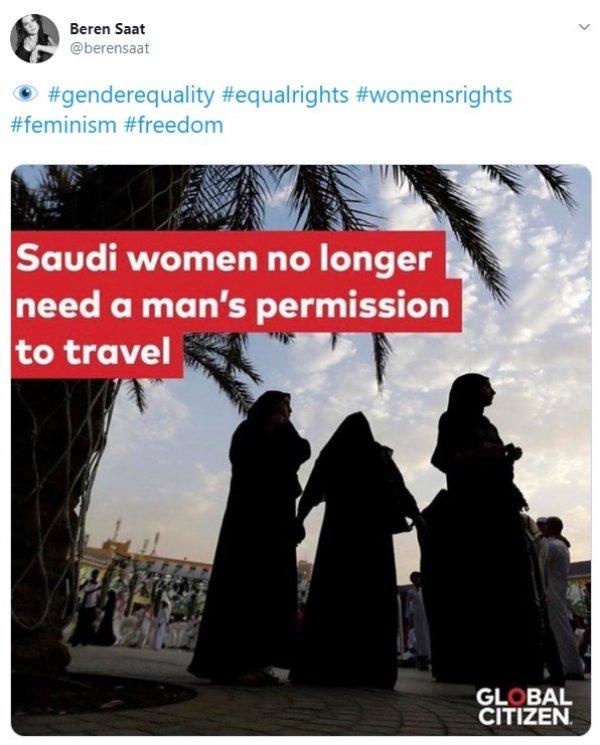 Beren Saat Suudi kadınlar için paylaşım yaptı