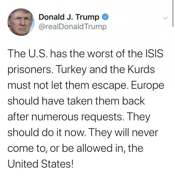 Trump: Avrupa DEAŞ militanlarını geri almalı