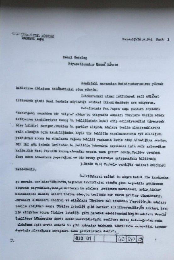 İsmet İnönü'nün 12 Ada'yı reddettiği belge paylaşıldı